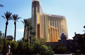 The Beautiful Golden Mandalay Bay Hotel on Las Vegas Boulevard