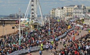 Thousands gather on Brighton seafront to support the runners