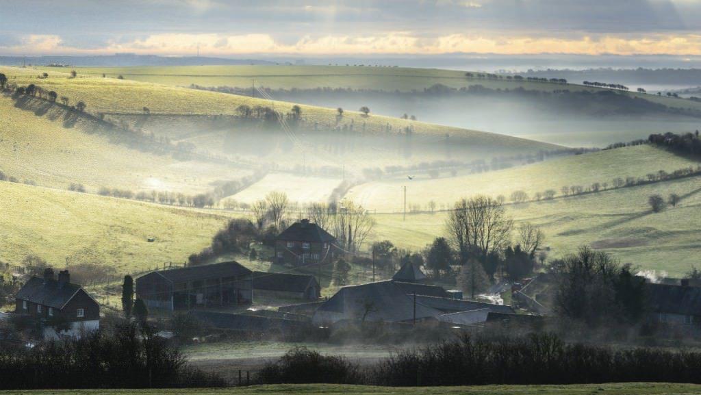 Misty morning at Saddlescombe Farm from Newtimber Hill DSC_3825 Deirdre Huston_