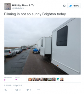 A tweet from April showing Hillbilly Films and TV at work in Brighton