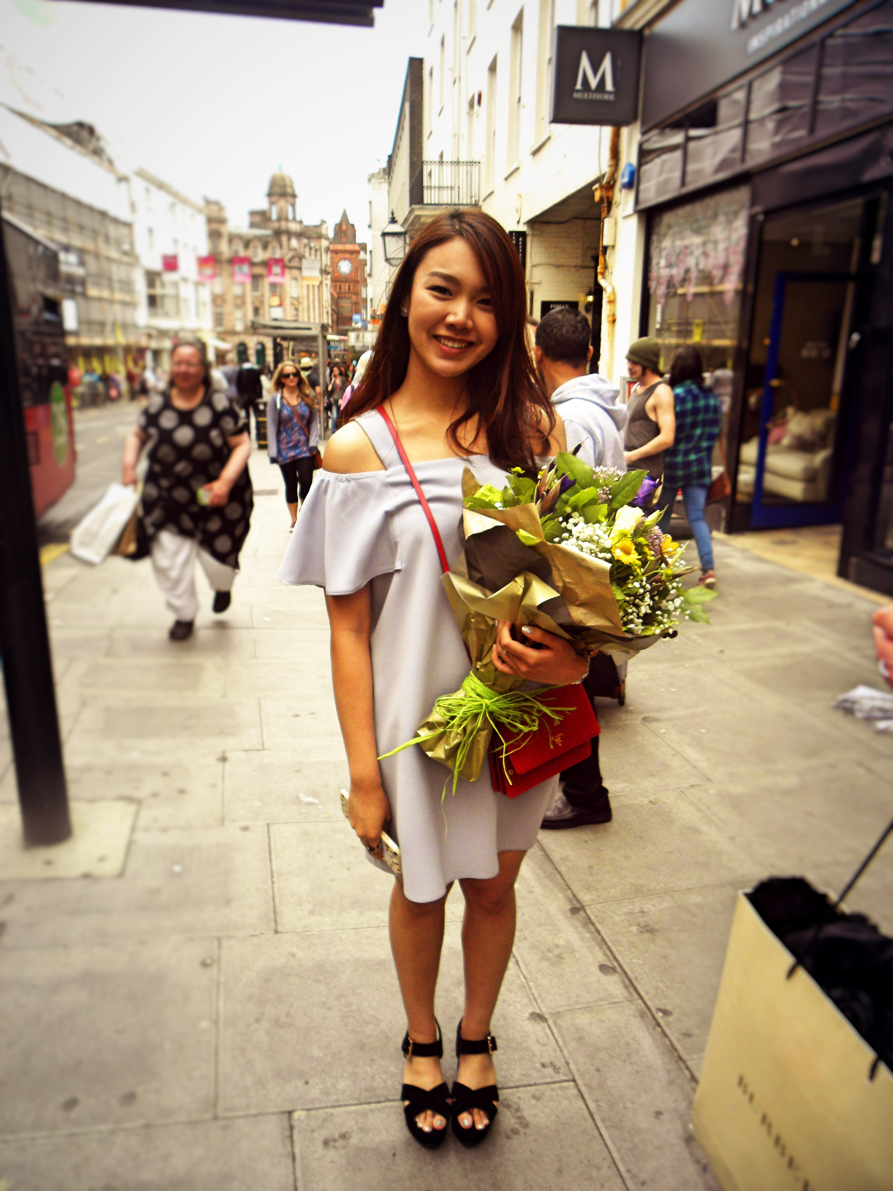 Natta is wearing a dress from Top Shop, her bag is a Prada and shoes from Office.