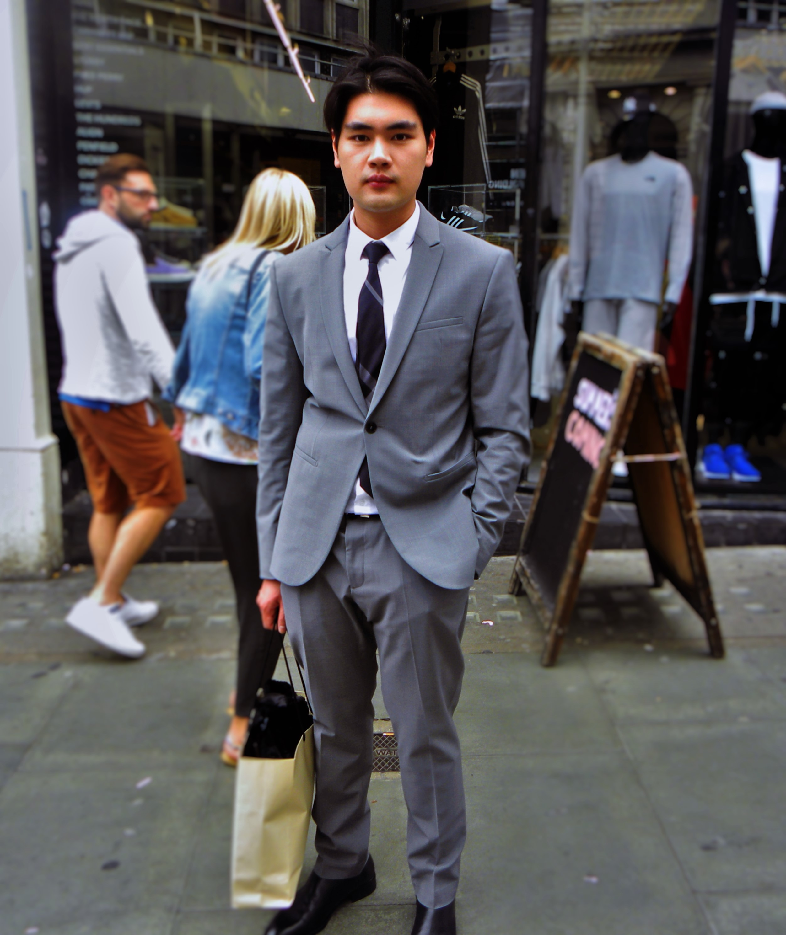 Jirat is wearing a suit and shoes from Zara and tie from Blue Beni.