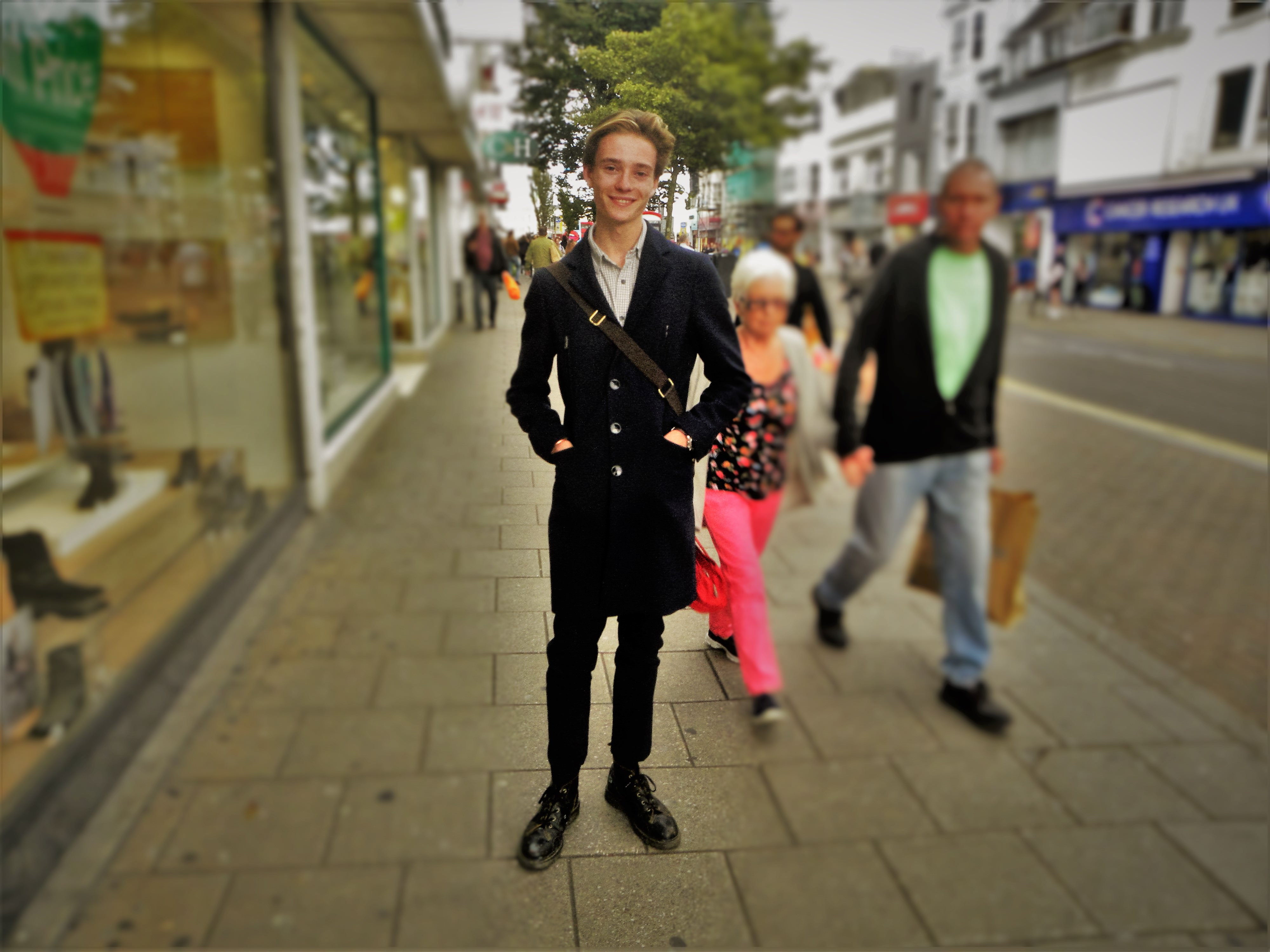 Jordan is wearing a jacket from Zara, trousers Top Man, shoes Doctor Marten and bag from Marshall Burgman.