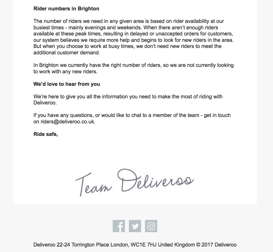 The email sent to riders