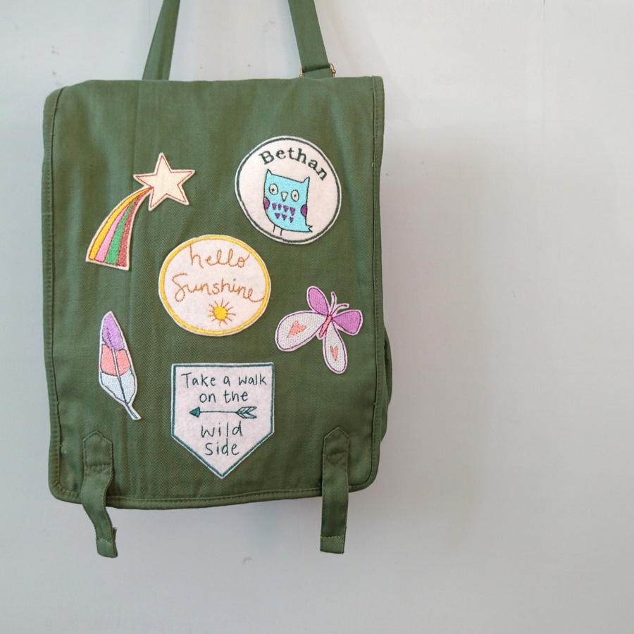 Embroidered patches on bag