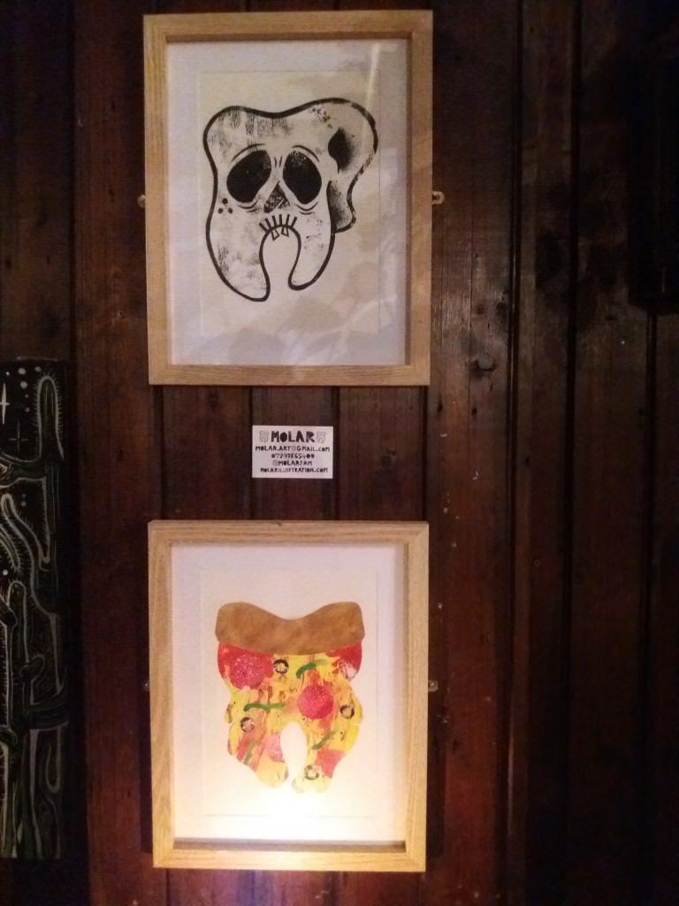 His molar illustrations at the Pull & Pump. Credit @ Laura Bohrer.