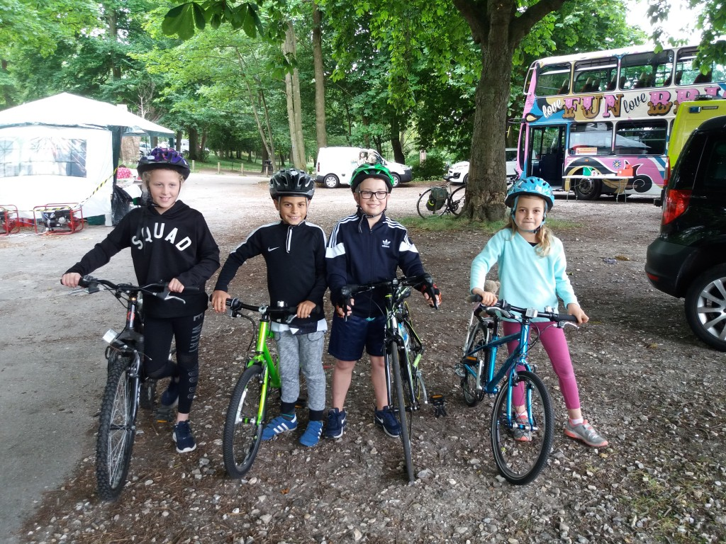 Some of the young riders: Isabelle, Theo, Jan and Leanie were keen to get going.
