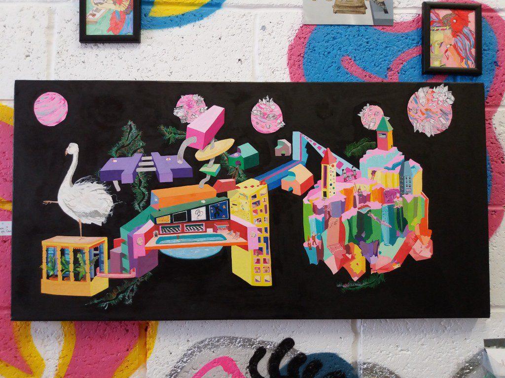 "Time Lines: Birth, Jazz, Mountain, Death"". Artwork by Eloise Oui. Gouache on canvas."