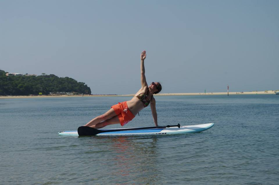 Other than the actual paddling, Penny also teaches and practises SUP yoga.