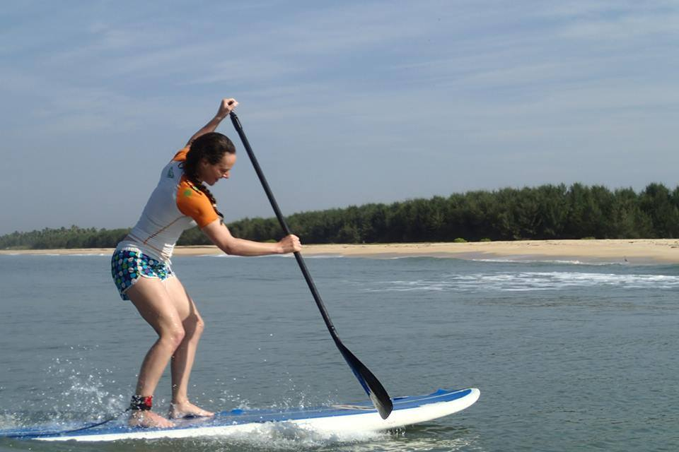 Penny goes out with her paddleboard three or five times a week.