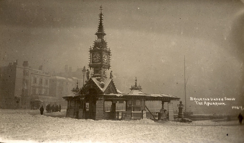 Brighton Aquarium Under Snow. Dr Russell's practice just out of shot left of the frame. Via: Brighton Museums (flickr)